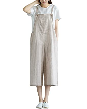c310abd8cc4b Image Unavailable. Image not available for. Color  IXIMO Women s 100% Linen  Striped Wide Leg Overalls Casual Loose Fit Sleeveless Jumpsuits ...