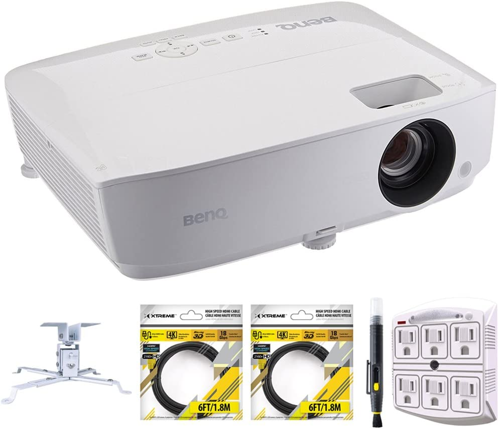 BENQ MH530FHD Full HD 1080p 3300 Lumens DLP Home Theater Projector Bundle with Extendable Projector Ceiling Mount, 2X 6ft HDMI Cable, Cleaning Pen and SurgePro 6-Outlet Surge Adapter
