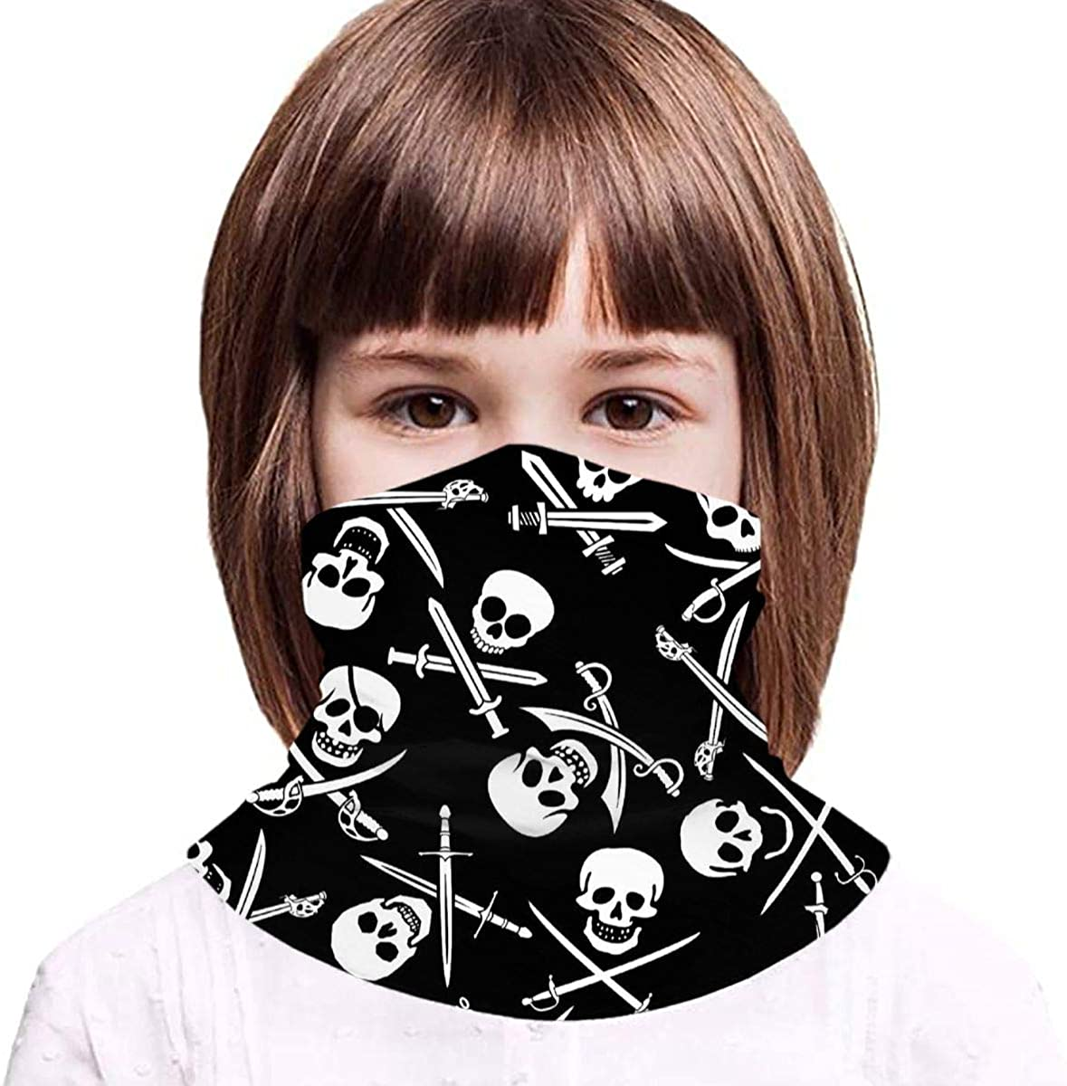 Skull and Crossbones Youth Novelty Neck Gaiter Bandana Headbands Kids Face Scarf Balaclavas for Outdoor
