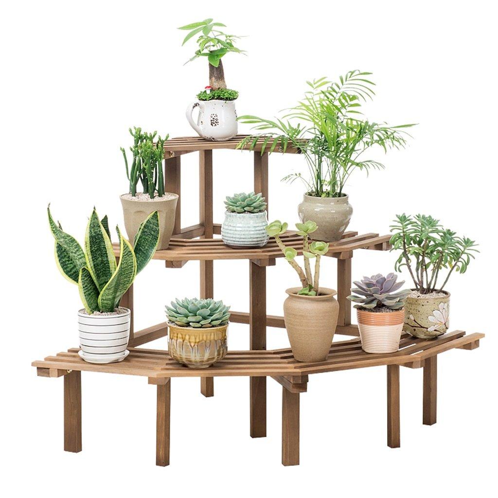 LOVELY Support de fleur d'angle en bois plein - échelle extérieure d'intérieur usine présentoir jardin jardinière