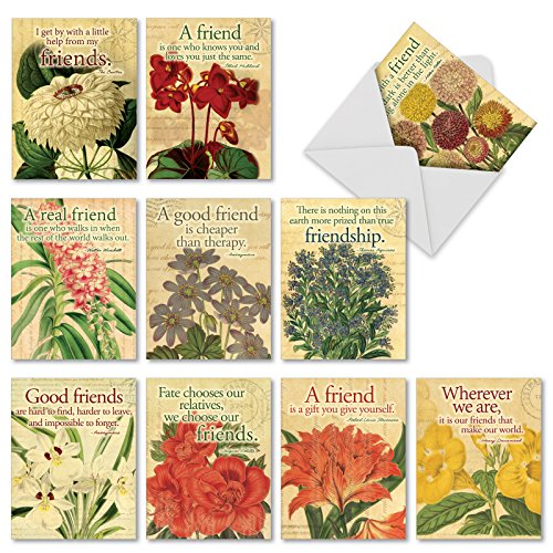 M1710BN Say It With Flowers: 10 Assorted Blank All-Occasion Note Cards Feature Floral Art Paired with Quotations on the Meaning of Friends, w/White Envelopes.