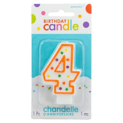 Amscan Number 4 Candle with Polka Dots Party Accessory: Home & Kitchen