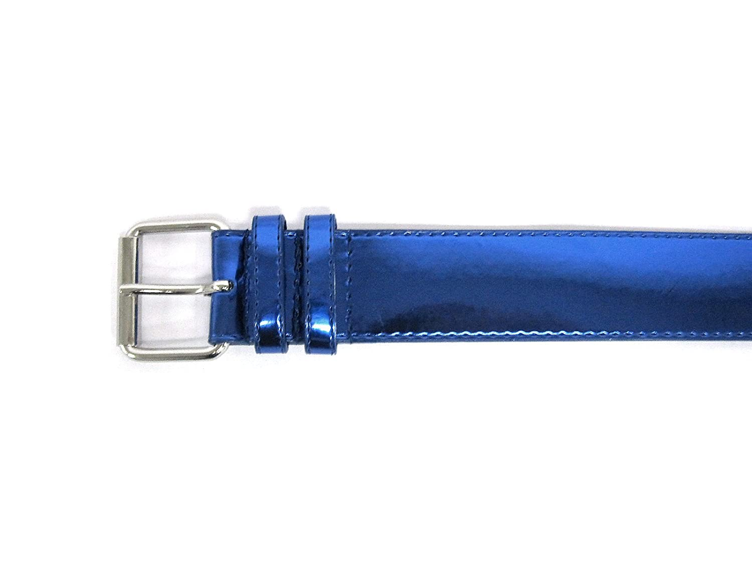 Women's Patent Leather Metallic Sheen Classic Neon Bright Spring Belt (Navy) ...