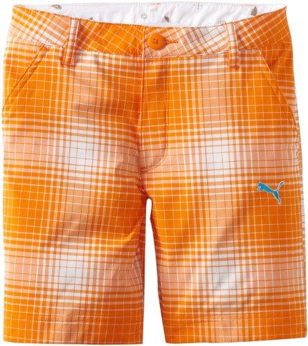 Puma Golf Boy's Ombre Plaid Bermuda, White/Vibrant Orange, Small