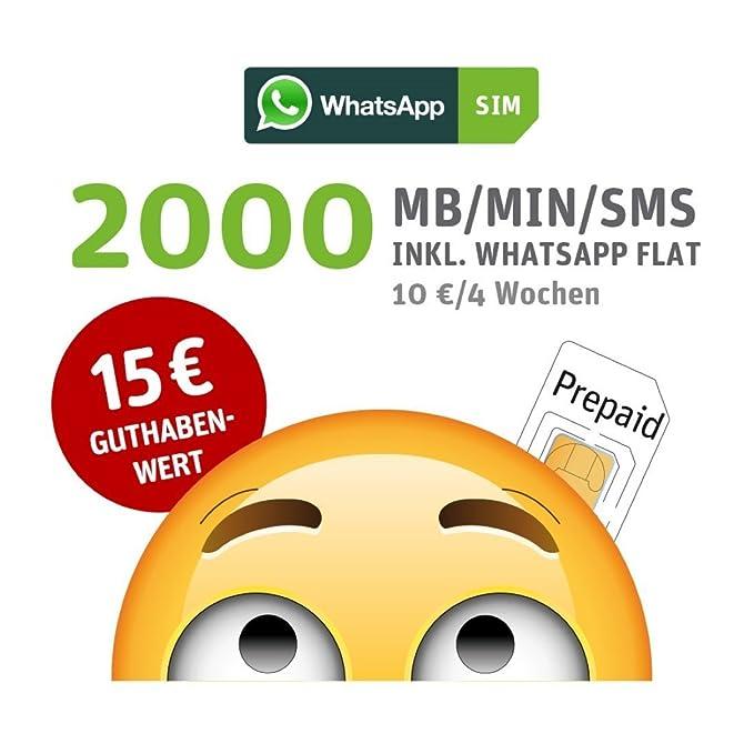 WhatsApp SIM Prepaid [SIM, Micro-SIM, Nano-SIM] - Starterpaket mit 15 EUR Guthabenwert, ohne Vertragsbindung, Option mit 2000