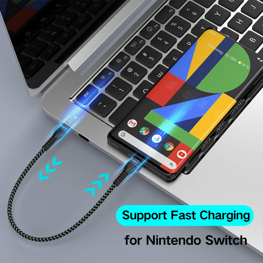 Short USB C to USB C Cable [2 Pack 1ft], AOJI USB-C to USB-C Fast Charger Nylon Braided Charging Cord Compatible with Samsung Galaxy Note 10 Plus A80, Google Pixel 2/3/3a XL, MacBook,iPad pro