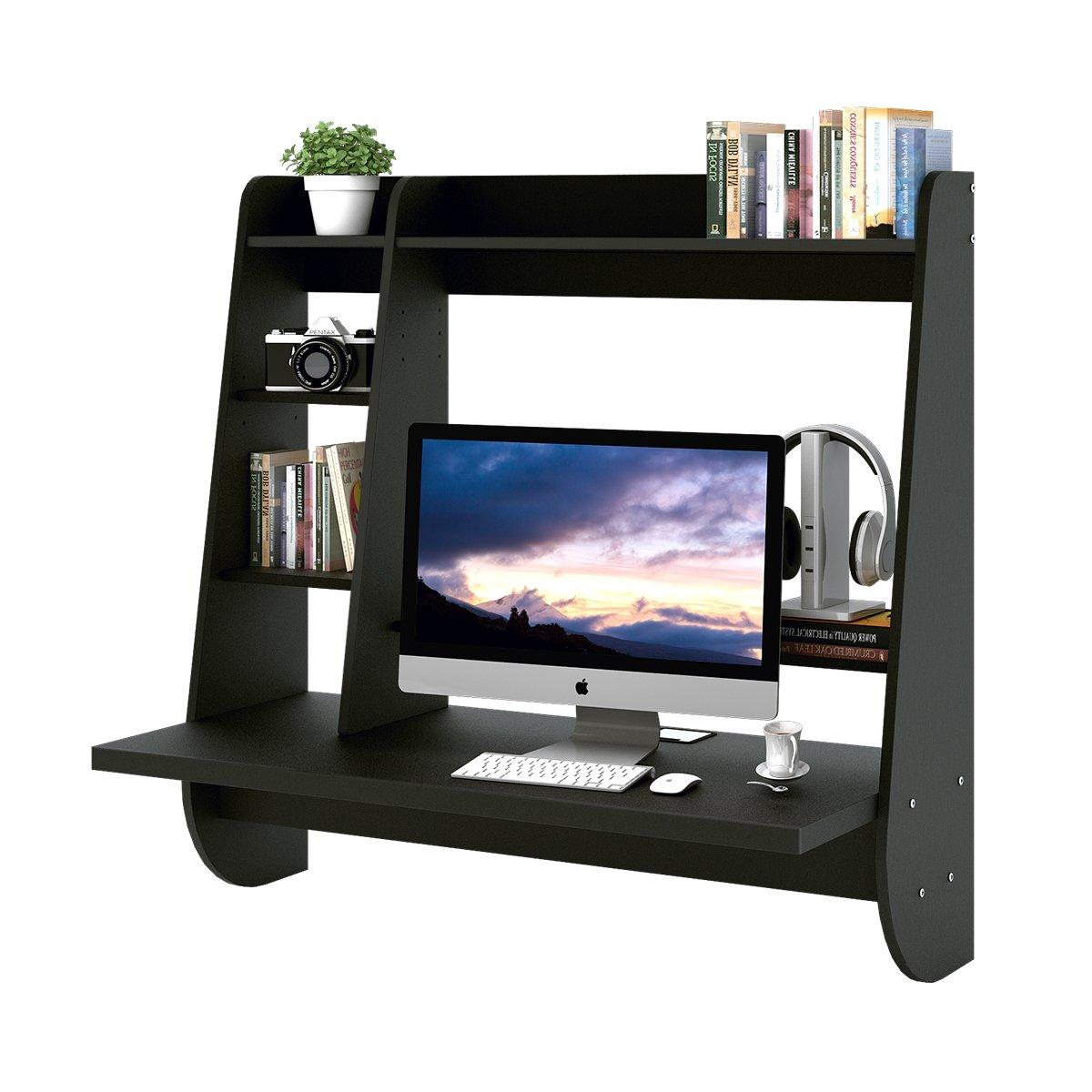 WLIVE Wall Mounted Floating Desk Storage (Black)