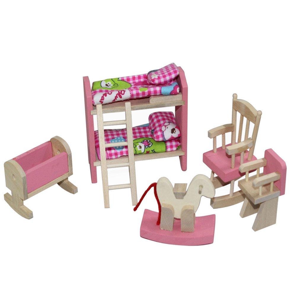 Kunhe Wooden Dollhouse Furniture Kids Room Set for Dollhouse Pink Color