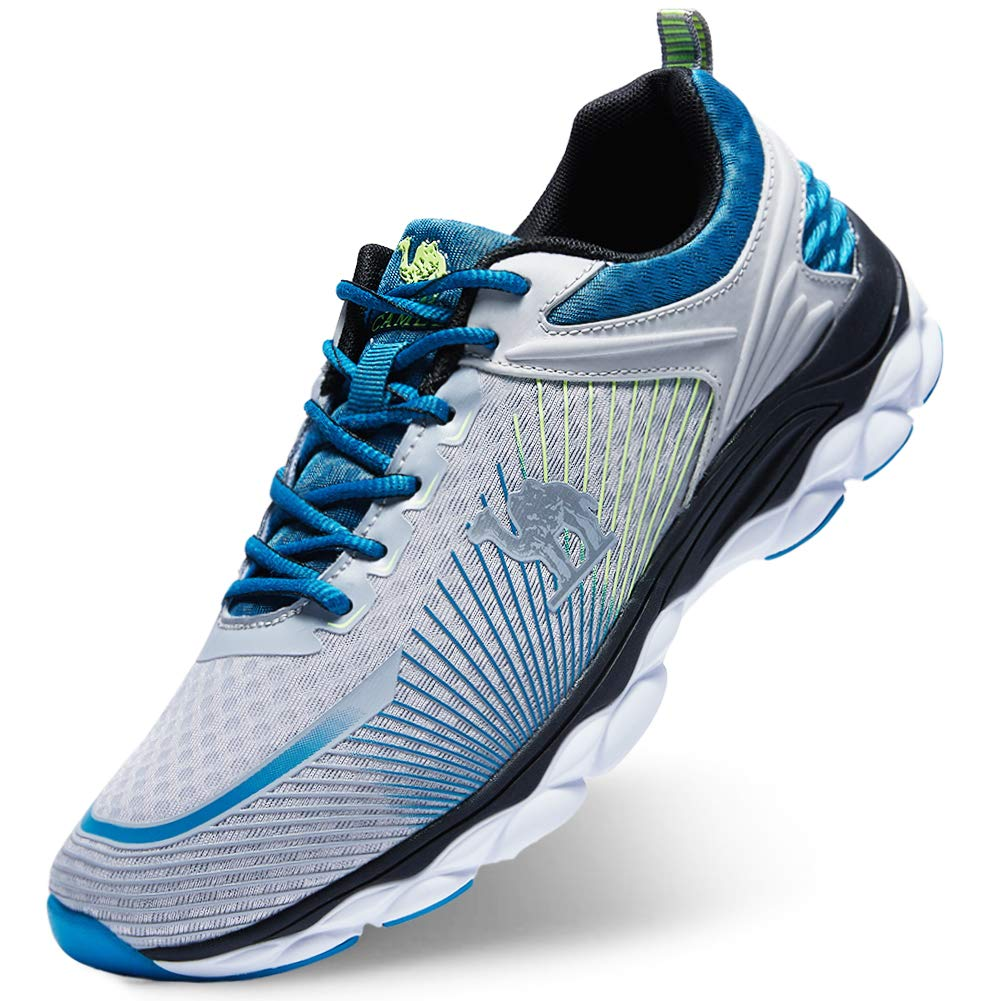 Camel Men's Running Sneakers Lace-up Lightweight Breathable Mesh Trail Athletic Sport Shoes(Grey/Blue 7)
