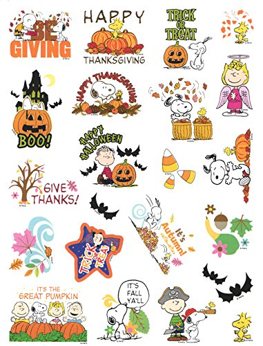 Peanuts Snoopy Fall, Halloween & Thanksgiving Stickers ~ It's Fall Ya'll, Angel Lucy, Be Giving! (22 Stickers; 1-1) -