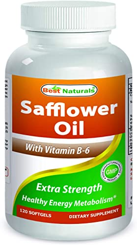 Best Naturals Safflower CLA Oil for Healthy Weight Management 1000mg with Vitamin B-6, 120 Softgels