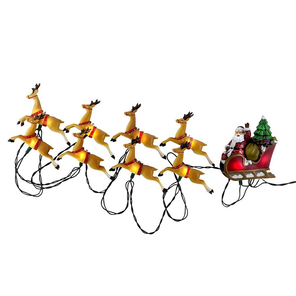 Kurt Adler 10-Light Santa Sleigh and Reindeer Light Set