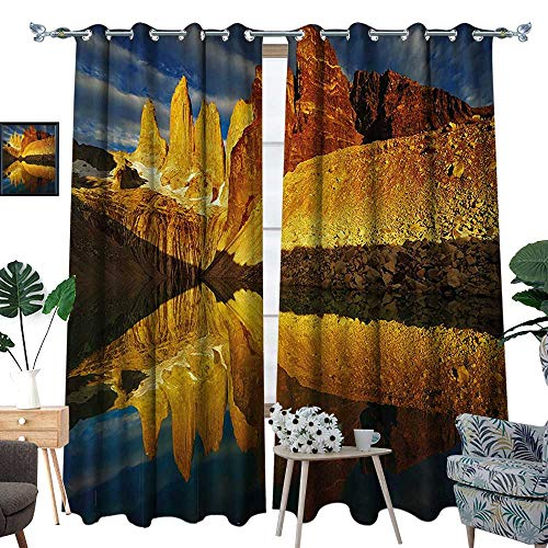 luvoluxhome Blackout Curtain Patio Sliding Door Curtain for Living Room/Bedroom Cliffs by Lake Torres Del Paine National Park Patagonia Light Coffee Cinnamon Bl 96.5