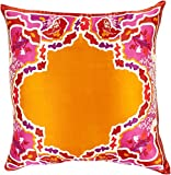 Diva At Home 18'' Bright Orange and Red Floral Pattern Woven Square Throw Pillow - Down Filler