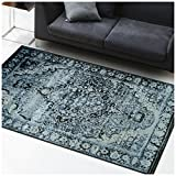 Superior Stirling Collection Area Rug, 10mm Pile Height with Jute Backing, Fashionable and Affordable Rugs, Vintage Distressed Oriental Rug Design – 8′ x 10′ Rug, Midnight Blue and Black