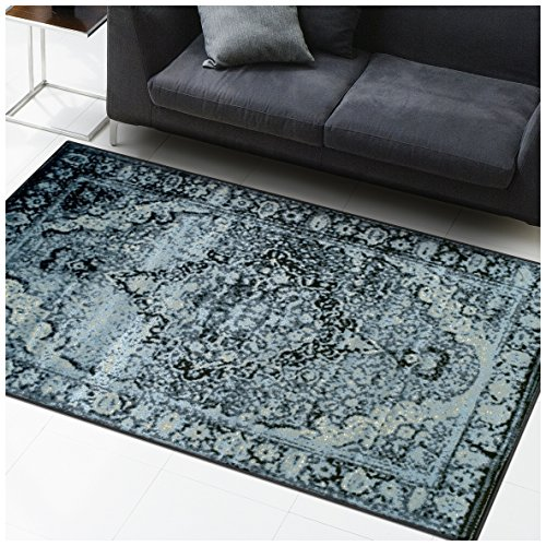 Superior Stirling Collection Area Rug, 10mm Pile Height with Jute Backing, Fashionable and Affordable Rugs, Vintage Distressed Oriental Rug Design - 5' x 8' Rug, Midnight Blue and Black