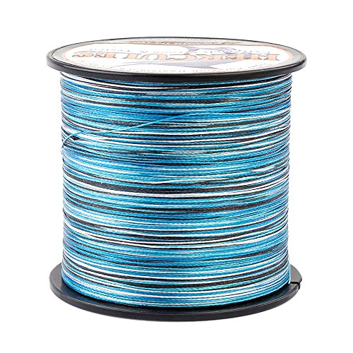 HERCULES Super Strong 1000M 1094 Yards Braided Fishing Line 15 LB Test for Saltwater Freshwater PE Braid Fish Lines 4 Strands - Blue Camo, 15LB (6.8KG), 0.16MM