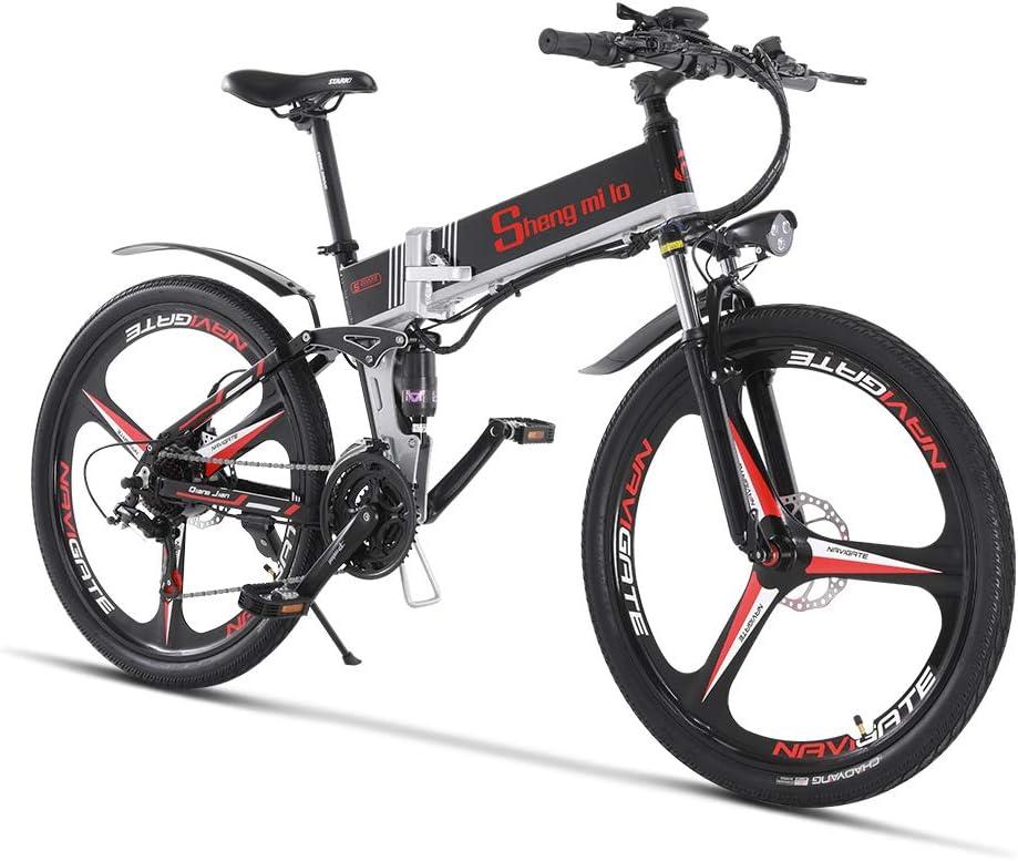 Bicicleta eléctrica 48V 350W Hombres Plegables Ebike 21 Velocidades Bicicleta de montaña y carretera con neumático de 26 pulgadas, freno de disco hidráulico y horquilla de suspensión total: Amazon.es: Deportes y aire