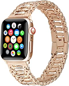 KARBYE-Compatible for Apple Watch Band 42mm-44mm Rose-Gold for Women-Iwatch Bands 38mm-40mm-42mm-44mm Women Rose-Gold for Series 5/4/3/2/1 - Metal Candy Bracelet Bling Strap Glitter Wrist Band