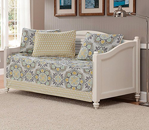 Mk Collection 5pc Day Bed Quilted Cover Set Floral Yellow White Gray Light Green - Collection Daybed Bedding