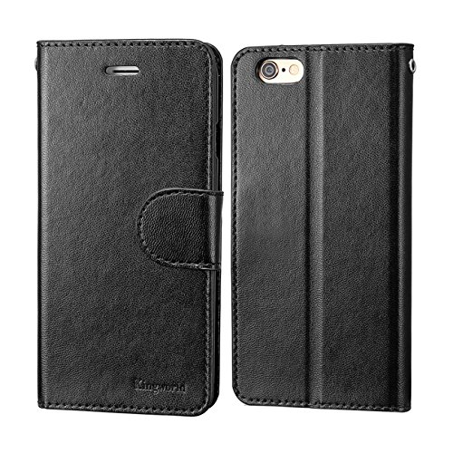 KINGWorld Flip Wallet Book Cover with Credit Card Holder for iPhone 6s Plus and iPhone 6 Plus (Black)