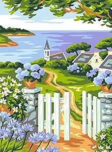 Anchor Kit para cuadro de punto de cruz, diseño de pueblo de costa