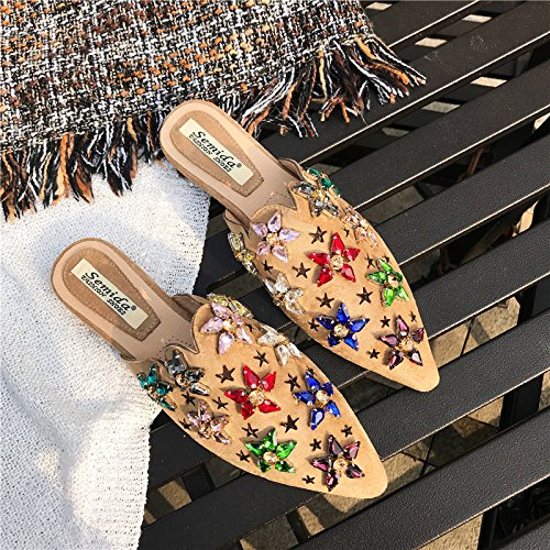 Summer Fashion Diamond Slippers Wild Wear Khaki Pointed Semi Lazy KPHY Bottomed Slippers Girls Flat tI1Fqg