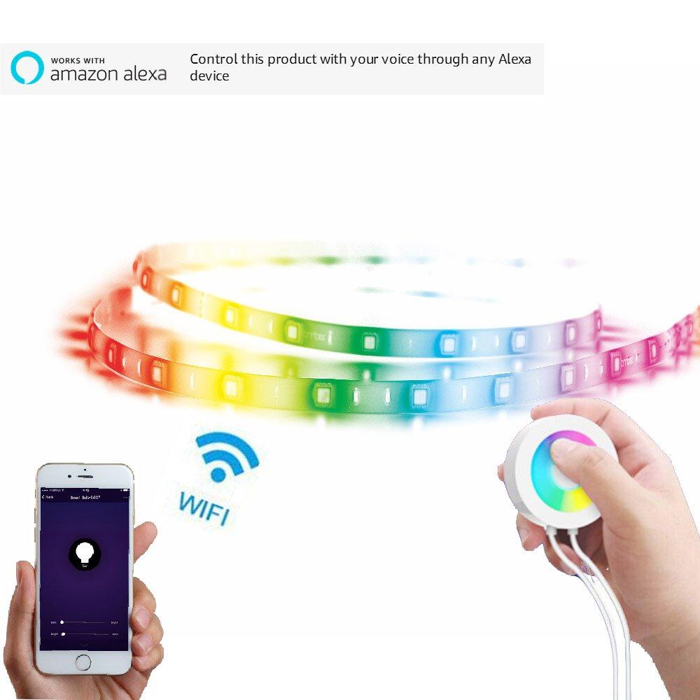 Lombex Intelligente W-LAN LED-Lichtstreifen Flexibles Tape mit Alexa und Google Home Steuerung Remote Voice Control RGBW Die Farbe Wechselndes Streifen-Stimmungslicht LEDSchleife DIY … (5Meter)