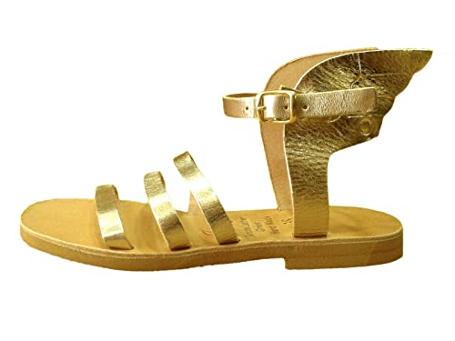 Ancient Greek Herme Womens Η Sandals Handmade Slide Flat Leather Shoes Gladiator