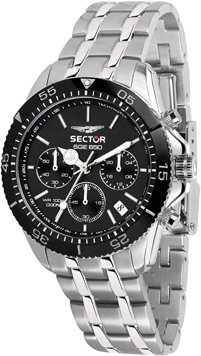 Sector No Limits Men s Sge 650 Analog-Quartz Sport Watch with Stainless-Steel Strap, Silver, 18 Model R3273962002