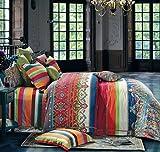 Bohemian Duvet Cover Striped Ethnic Boho Reversible Paisley Pattern Cotton King Size Bedding 3 Piece Set Colorful Modern Hippie Style
