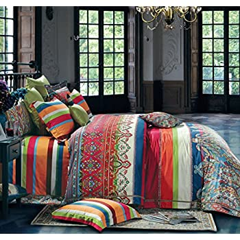 bohemian duvet cover striped ethnic boho reversible paisley pattern cotton bedding 3 piece set colorful modern