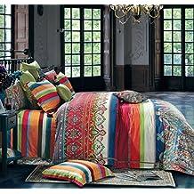 Bohemian Duvet Cover Striped Ethnic Boho Reversible Paisley Pattern Cotton Bedding 3 Piece Set Colorful Modern Hippie Style (Queen, Multicolor)