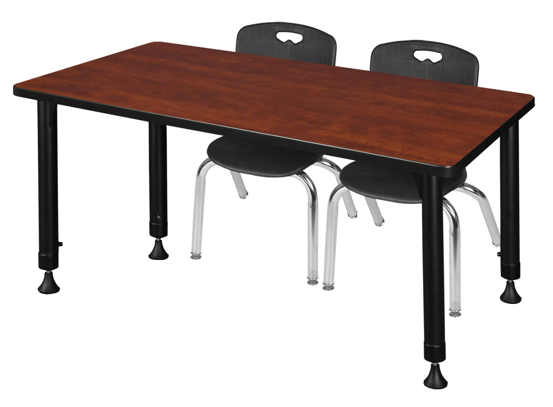 Regency MT4824CHAPBK45BK Kee Height Adjustable Classroom Table Set with Two 12'' Andy Chairs 48'' x 24'' Cherry/Black