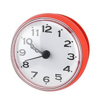 Agua Densidad ducha Reloj con ventosa redondean Árabes Digital Esfera para baño ducha Reloj accesorio de cocina baño banduhr pared montaje, rojo: Amazon.es: ...