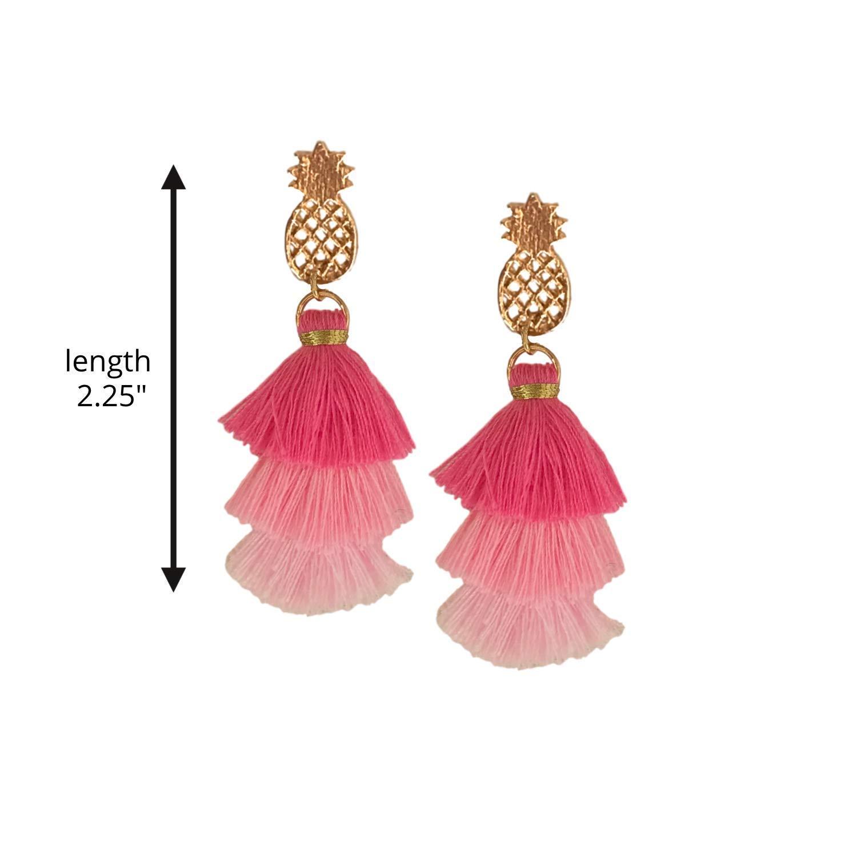 Amazon Com Pineapple Pagoda Tassel Earrings Handmade