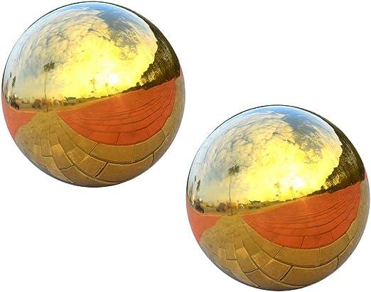 Bola Hueca de Acero Inoxidable Bola de Espejo Sin Costuras Esfera Jardín de Oro - 2 * 150mm: Amazon.es: Jardín