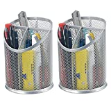Bonsaii 2-Pack Round Steel Mesh Pen Pencil Desk Holder Organizer  Deal (Small Image)