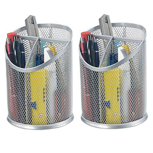- Bonsaii 2-Pack Round Steel Mesh Pen Pencil Desk Holder Organizer 3 Compartments,Sliver(W6808)