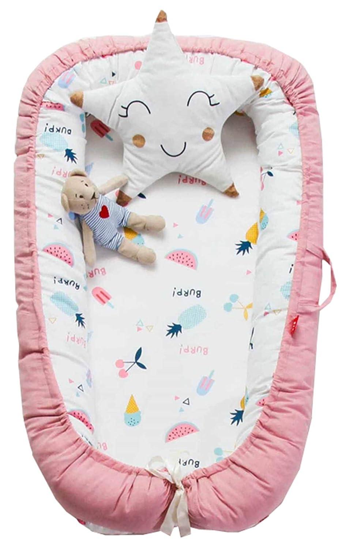 Blau Hei/ßluftballon Hayisugar Babynest Nestchen Kuschelnest Matratze im Bett Faltbett Doppelseitig Babybett Weiches und sicheres Baby-Reisebett Babynestchen 90cm x 55cm x15cm