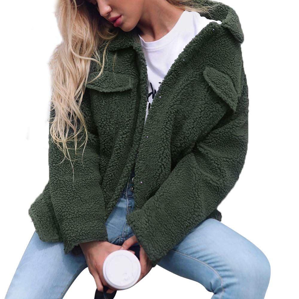 Coat For Women, Clearance Sale! Pervobs Womens Winter Warm Button Down Pockets Solid Jacket Parka Coat Outerwear(18, Army Green) by Pervobs Women Coat&Jacket (Image #2)