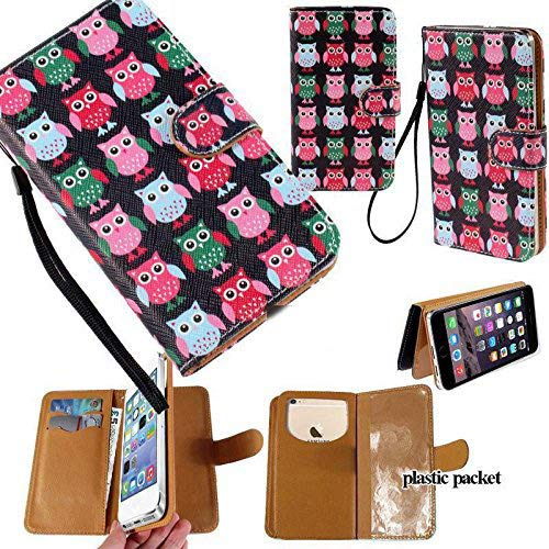 Universal PU Leather Strap Case/Purse/Clutch Fits Apple Samsung LG etc. Cute Little Owls -Small. Magic Sticker Attaches Phone to Wallet. Strong Adhesive/Easy Remove. Fits Models Below: -