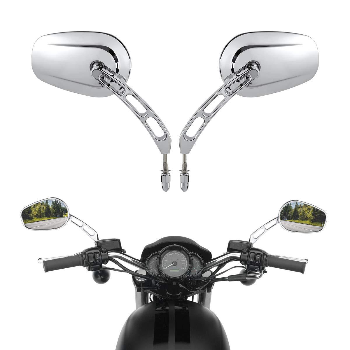 XMT-MOTOR Moto 8mm Espejo Retrovisor Adecuado para Harley Davidson Touring Softail FL Dyna Sportster 883 Cromo