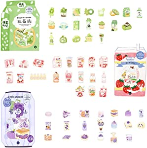 DzdzCrafts Tonoimo Matcha Strawberry Drink 120pcs Food Stickers Set 1.57-Inches Large for Scrapbooking Diary Planner Card Making Laptop