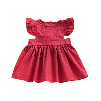 Amanod Toddler Baby Girls Solid Ruched Dress Ruffles Sleeve Princess Outfits Clothes