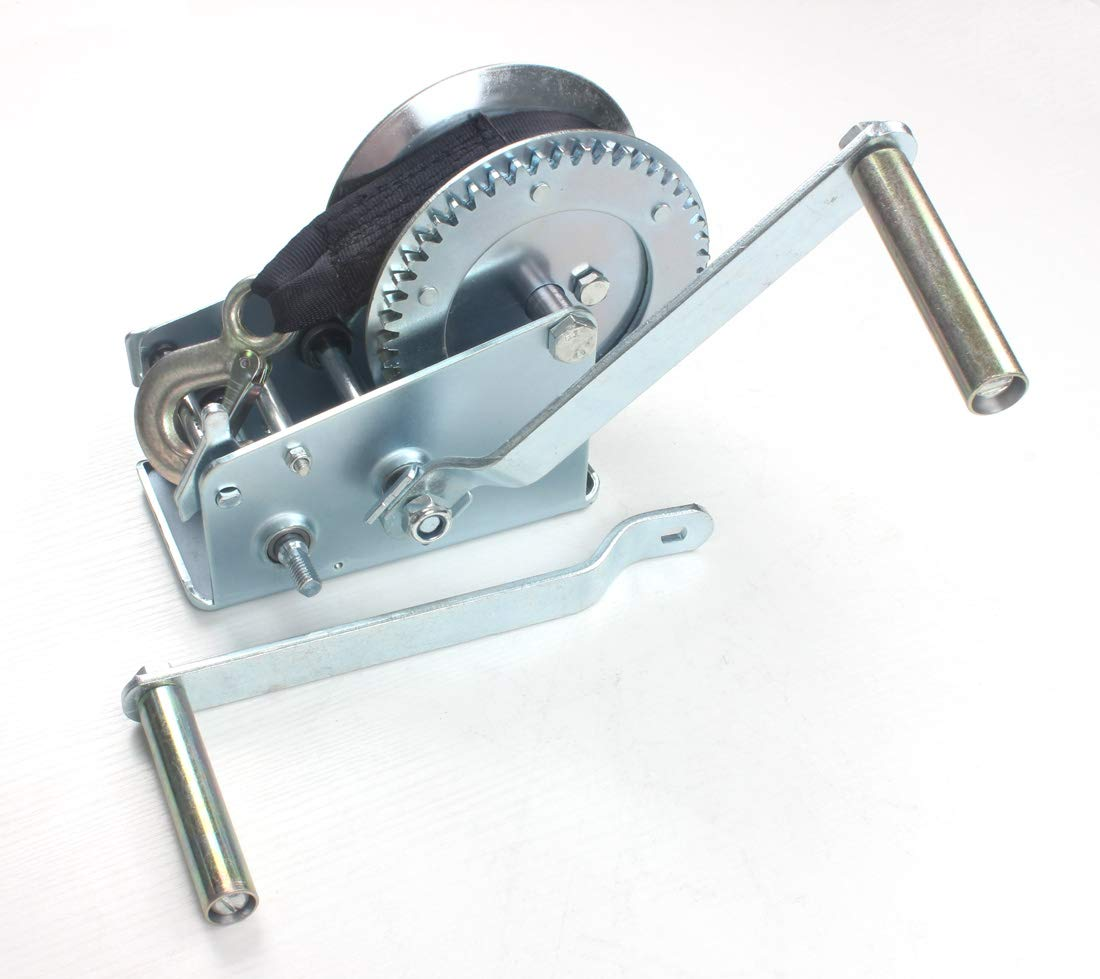AC-DK 1600 lb - 3500 lb Hand Gear Winch Come with Two Crank Handles! - Manual Operating with Strap & Cable for Boats and Trailers(3500 lb with Strap).