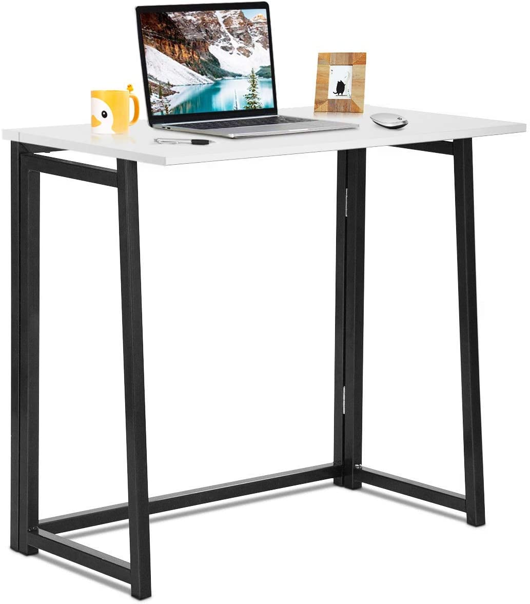 Tangkula Folding Table, Small Foldable Computer Desk, Home Office Laptop Table Writing Desk, Compact Study Reading Table for Small Space, Space Saving Office Table (White)