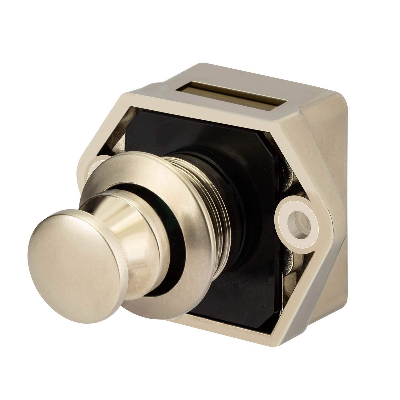 OCGIG 10PCS Bot/ón pulsador Gabinete Cerradura de la puerta Caravana Autocaravana Camper Pestillo Armario Perilla de oro