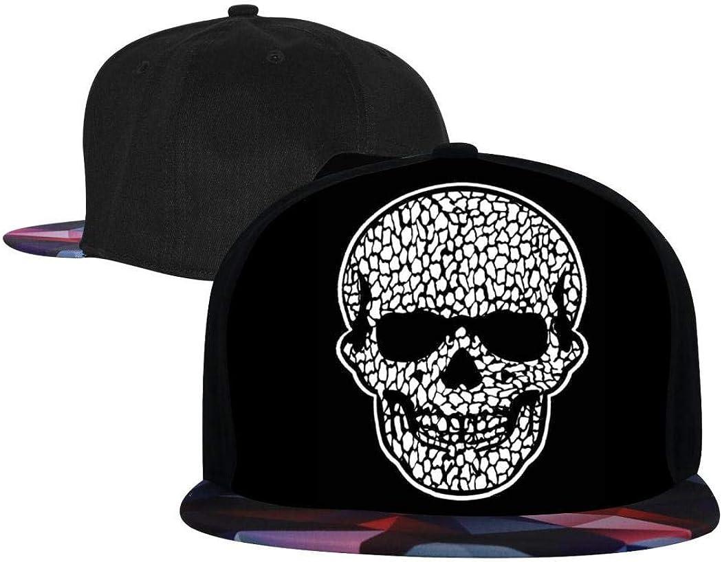 Kicher Skull Hip Hop Cap Flat Brim Hat Snapback Caps for Youth Adjustable Fashion Baseball Cap for Men//Women Red