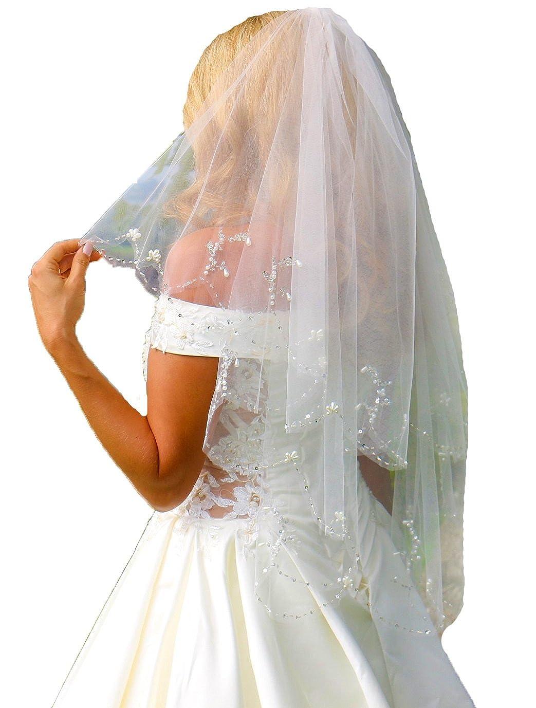 Schleier Brautschleier 2 Lagen mit Kamm Perlen Pailetten 2-lagig Hochzeit Braut